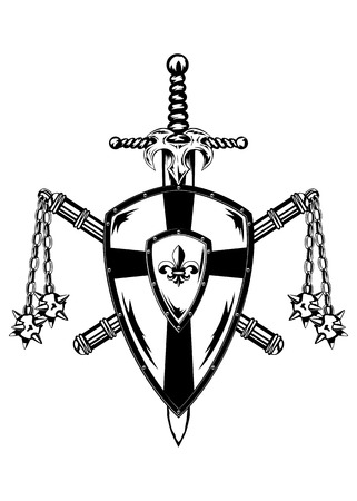 Illustration board sword and crossed maces Vector