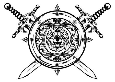crossed swords: Ilustraci�n de escudo y espadas cruzadas
