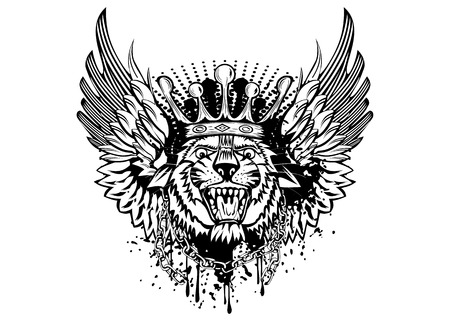Illustration tiger head with crown and wings Illustration