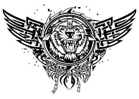 Illustration tiger head and abstract patterns