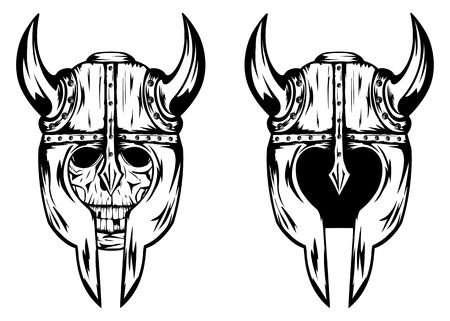Illustration skull in helmet with horns