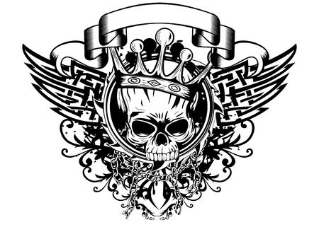 warrior tribal tattoo: Illustration skull with crown tribal wings