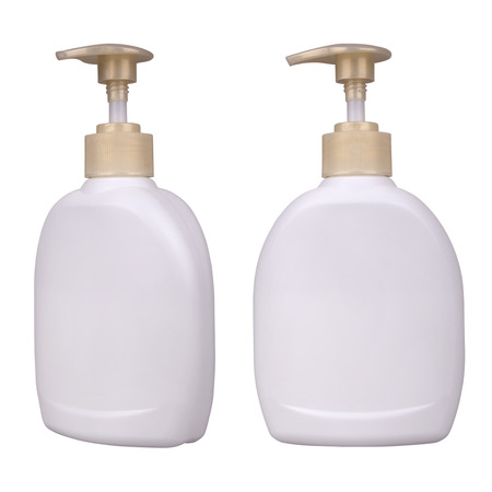 Bottle with liquid soap isolated on a white  photo