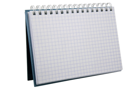 Open notebook isolated on white  photo