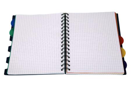 Open workbook isolated on white  photo