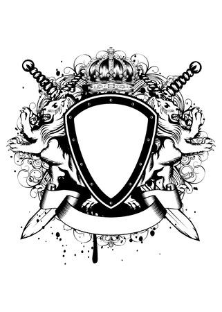 Vector illustratie van abstracte frame met kroon, gekruiste zwaarden, heraldische leeuwen en een ornament