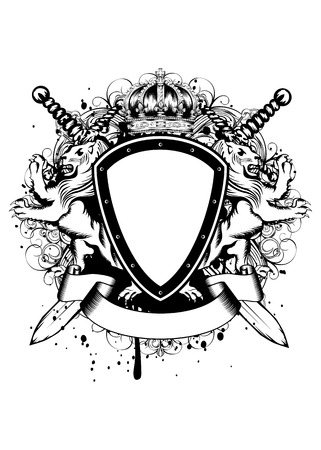 crossed swords: Vector illustration of abstract frame with crown, crossed swords, heraldic lions and an ornament Illustration