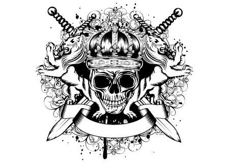 Vector illustration of abstract blazon with skull in crown, crossed swords, heraldic lions and an ornament Stock Illustratie