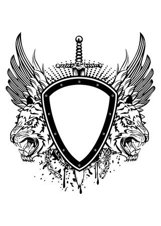 Vector illustration board sword and tiger head