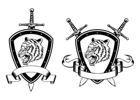 Vector illustration board sword and tiger head Vector