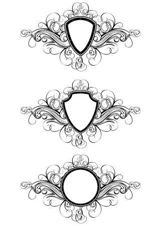 Vector illustration frame with patterns set