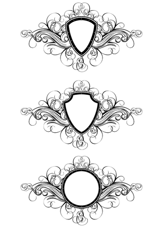 Vector illustration frame with patterns set Vector