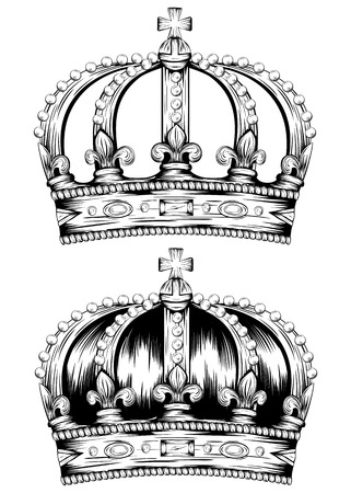 Vector illustration of abstract crown set