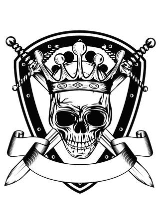 交差させた剣の王冠で頭蓋骨と抽象的な紋章のベクトル イラスト
