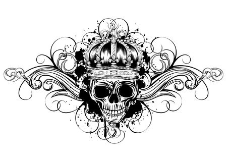 Vector illustration skull with crown on background of ornament