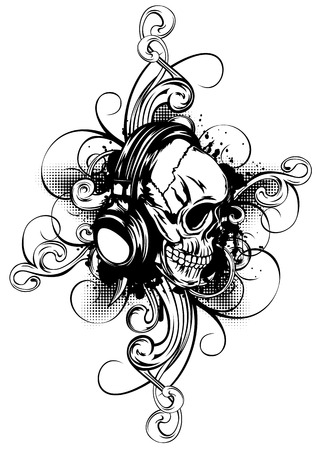 Vector illustration human skull with headphones and patterns