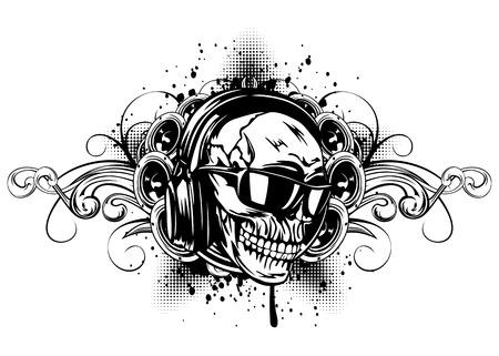 musica electronica: Ilustración del vector cráneo humano con los auriculares y las gafas de sol