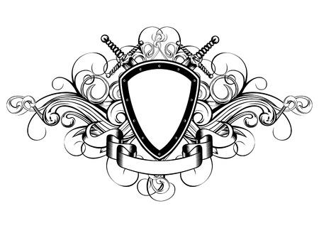 crossed swords: Ilustraci�n vectorial marco con espadas y patrones cruzados Vectores