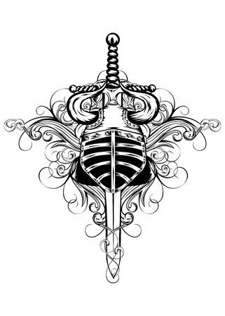 cuchillos: Ilustraci�n vectorial casco con cuernos, la espada y patrones
