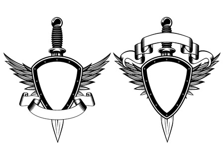 Vector illustration shield, wings and dagger Vector