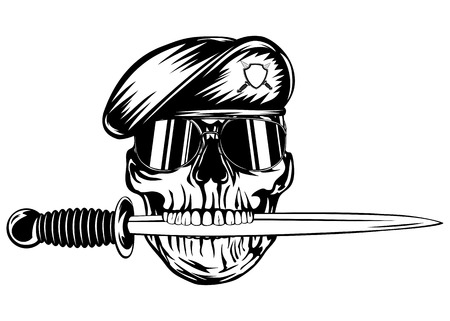 combative: Vector illustration skull in beret with dagger