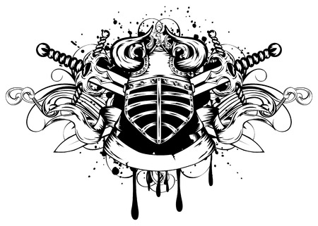 Vector illustration helmet with horns, crossed swords and patterns Vector