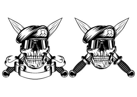 cuchillo: Ilustración vectorial cruzó dagas y cráneo en boina