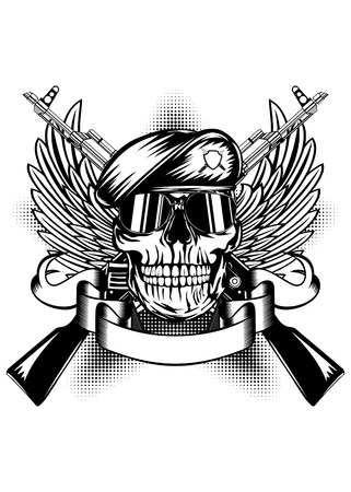 Vector illustration two  guns, wings and skull in beret Çizim