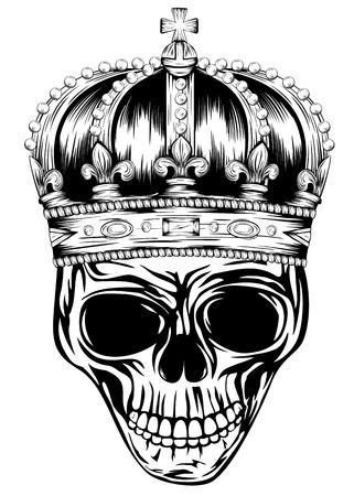 grunge skull: Vector illustration skulls with crowns Illustration