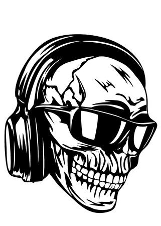 heavy metal music: Illustrazione vettoriale teschio umano con le cuffie e occhiali da sole