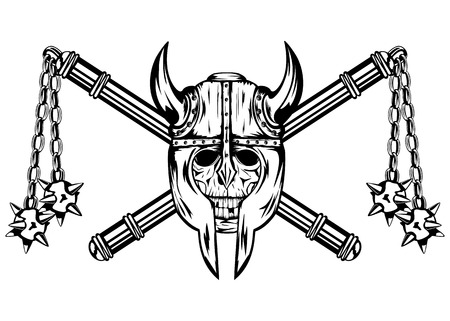 Vector illustration skull in helmet and crossed maces Vector