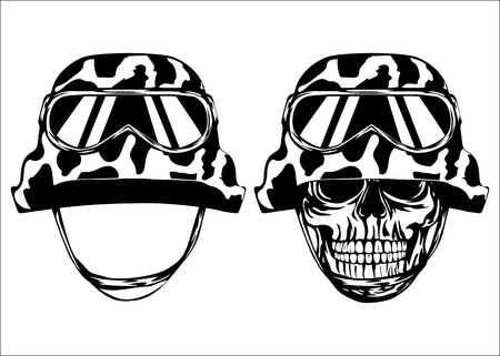 military helmet: Vector illustration skull in helmet with protective eyewear