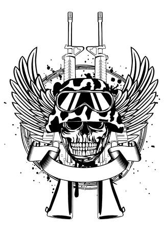Ilustración vectorial dos ametralladoras, alas, alambre de púas y el cráneo en el casco