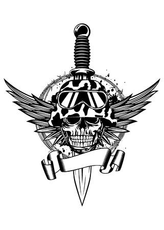 Vector illustratie dolk, vleugels, prikkeldraad en schedel in helm