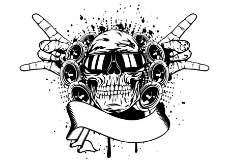 death metal: Vector illustration human skull in sunglasses, gesture by hand  rock  and speakers