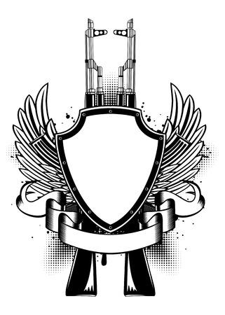 ammunition: Vector illustration two   guns, wings and shield Illustration
