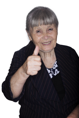 Portrait of the grandmother hand showing gesture isolated on a white background