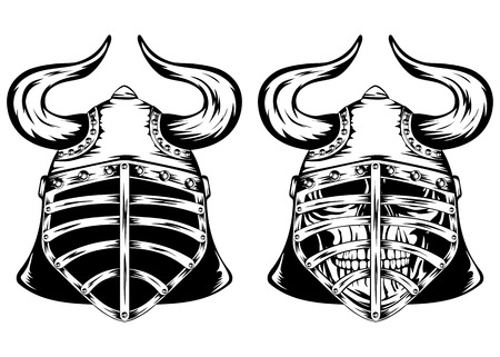 Vector illustration skull in helmet with horns  Vector