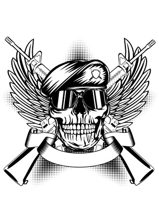 military uniform: Vector illustration two machine guns, wings and skull in beret