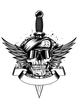 Vector illustration dagger, wings, barbed wire and skull in beret