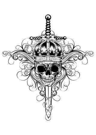 crossed swords: Ilustraci�n del vector del cr�neo de la corona, los patrones y las espadas cruzadas