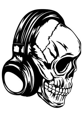 electronic music: Vector illustration human skull with headphones