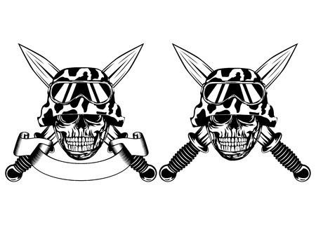 skull cranium: Vector illustration crossed daggers and skull in helmet