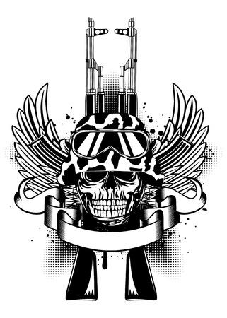 Vector illustration two Kalashnikov guns, wings and skull in helmet