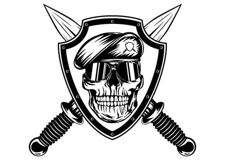 Vector illustration crossed daggers, board and skull in beret