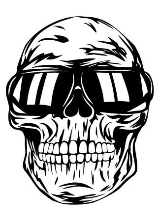 Vector illustration human skull in sunglasses
