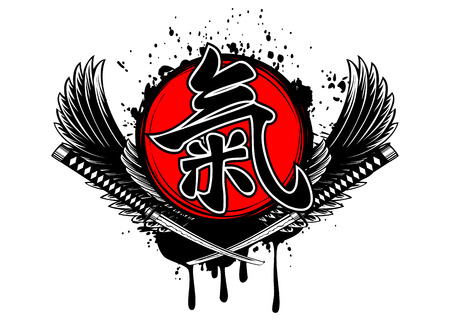 ki: Abstract vector draw wings, crossed samurai swords and hieroglyph ki Illustration