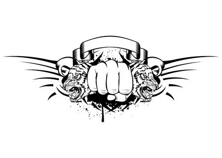 Vector illustration fist and two tigers  heads  Vector