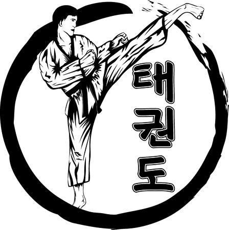 tae: Ilustraci�n vectorial taekwondo marcial y jerogl�fico tae kwon do