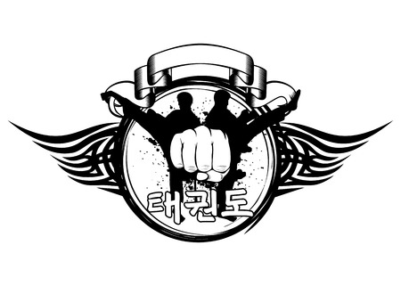 tae: Vector illustration silhouette taekwondo martial, fist and hieroglyph tae kwon do